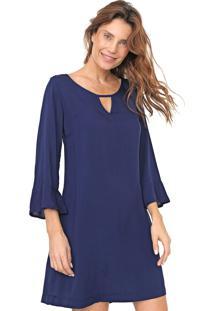 Vestido Mercatto Curto Liso Azul-Marinho