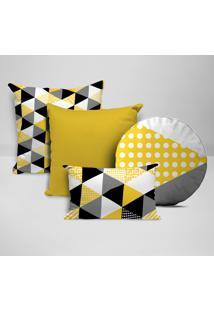 Kit 4 Almofadas Divine Multi Triângulos Amarelo