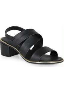Sandália Salto Conforto Elástico Preto
