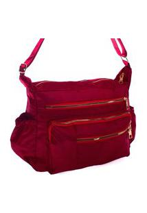 Bolsa Feminina Transversal Esportiva Ou Casual Nylon Grande Impermeável Vermelho
