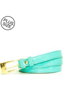 Cinto Feminino Plus Size - Confidencial Extra Fininho Verniz Básico - Verde