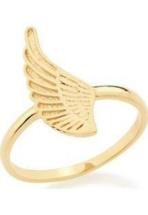 Anel Rommanel Skinny Ring Asa Com Detalhe Em Alto Relevo Feminino - Feminino-Dourado