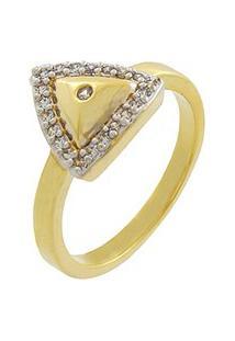 Anel Narcizza Triângulo Com Zircônia Cristal Banhado No Ouro