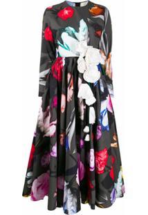 Prada Vestido Evasê Com Estampa Floral - Cinza