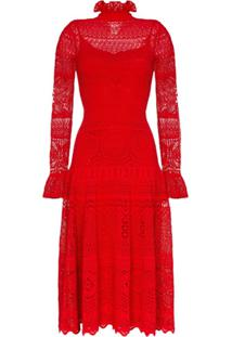 Alexander Mcqueen Pointelle Lace Midi Dress - Vermelho