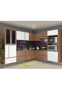 Cozinha Completa 19 Portas 4 Gavetas 5461 Nogueira/Branco - Multimóveis