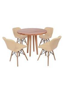 Conjunto Mesa De Jantar Em Madeira 90Cm Com Base Vértice + 4 Cadeiras Slim - Nude