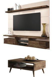 Painel Tv Livin 1.8 Com Mesa De Centro Lucy Deck/Off White - Hb Móveis