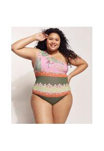 Maiô Plus Size Emi Beachwear Estampado Bananeiras Um Ombro Só Com Proteção Uv50+ Biodegradável Rosa