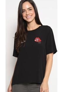 Blusa Com Bordados- Preta & Vermelha- Colccicolcci