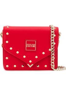 Versace Jeans Couture Bolsa Transversal Com Tachas - Vermelho