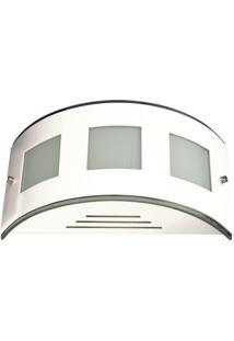 Arandela Dela Avl 055 Vidro Branco Aluminio E Vidro 60W
