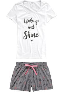 Pijama Curto Estampado Detalhe Metalizado Malwee Liberta