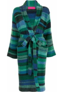 The Elder Statesman Striped Cashmere Cardigan - Verde
