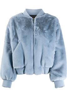 Chiara Ferragni Faux Fur Wink Jacket - Azul