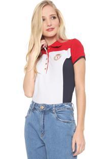 Camisa Polo Aleatory Recortes Vermelha/Branca/Azul-Marinho
