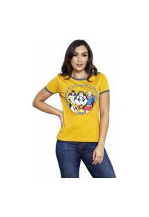 Camiseta Sideway Liga Da Justiça Super Heroínas - Amarela