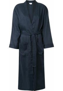 Pour Les Femmes Robe Com Amarração Na Cintura - Azul