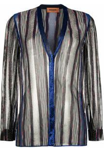 Missoni Cardigan Transparente Com Abotoamento - Azul