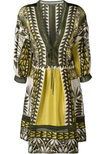 Alberta Ferretti Vestido Com Padronagem Geométrica - Verde