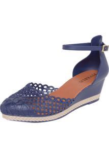 Scarpin Fiveblu Recortes Azul-Marinho