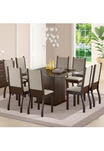 Sala De Jantar Mesa E 8 Cadeiras Madesa Vívian Tabaco/Sued Pérola
