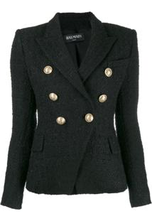Balmain Double Breasted Tweed Blazer - Preto