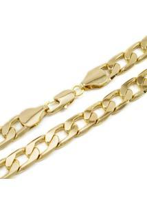 Corrente Grumet Tudo Jóias Com 10Mm De Largura Folheada A Ouro 18K - Masculino-Dourado