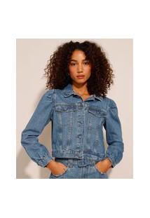 Jaqueta Jeans Manga Bufante Azul Médio
