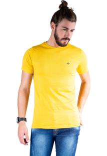 Camiseta Mister Fish Gola Careca Basic Mostarda