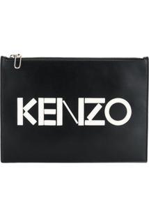 Kenzo Clutch Com Placa De Logo - Preto