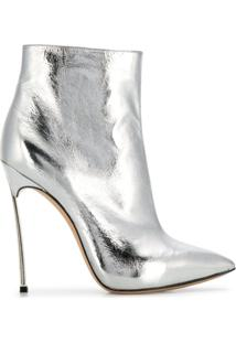 Casadei Metallic Stiletto Ankle Boots - Prateado