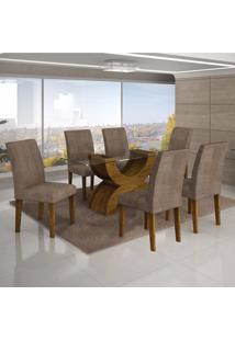 Conjunto Sala De Jantar Mesa Tampo Vidro 160Cm 6 Cadeiras Olímpia New Leifer Canela/Animale