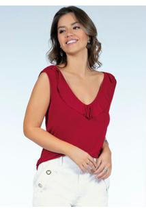 Blusa Vermelha Com Babados Na Frente