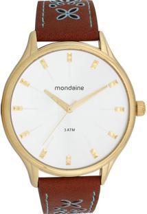 Relógio Mondaine 76610Lpmvdh1 Marrom/Dourado