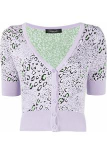 Versace Cardigan Cropped Com Estampa De Leopardo - Roxo