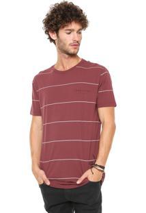 Camiseta Hang Loose Listrada Bordô