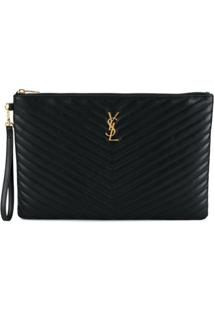 Saint Laurent Clutch Matelassê - Preto