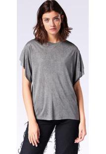 Camiseta Diesel T-Peta-B Feminina - Feminino-Cinza