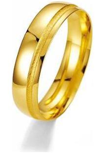 Aliança De Casamento Masculina Em Ouro 18K 4Mm Acabamento Liso E Fosco Wm Jóias - Masculino-Dourado