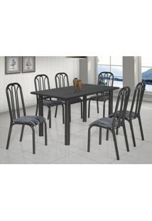 Conjunto De Mesa Com 6 Cadeiras Lion Clássica Ciplafe Craqueado Preto/Riscado Preto