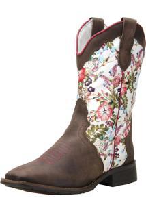 Bota Capelli Texana Floral Marrom 5674 - Marrom - Feminino - Dafiti