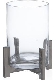 Porta Vela Clear Vidro Transparente/Prata 21X17Cm