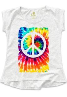 Camiseta Cool Tees Tie Dye Simbolo Da Paz Feminina - Feminino-Mescla Claro