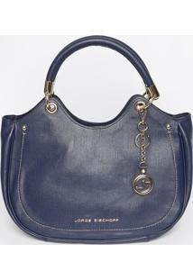Bolsa Em Couro Texturizada- Azul Marinho- 28X35X12Cmjorge Bischoff
