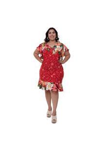 Vestido Plus Size Milena Vermelho