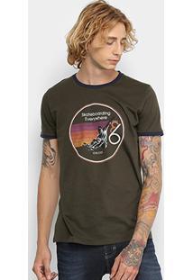 Camiseta Manga Curta Colcci Estampada Masculina - Masculino-Verde Escuro