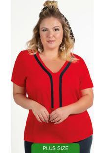 Blusa Plus Size Com Decote V Vermelho