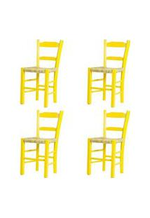 Kit 4 Cadeiras Lagiana Pequenas Eucalipto Amarela Assento Palha - 59474 Preto