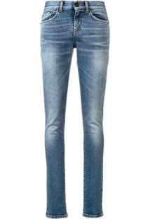 Saint Laurent Calça Jeans Skinny Cintura Baixa - Azul